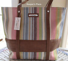 Longaberger Pastel Stripe Double Handle Bag Tote With Faux Leather Trim New Tag