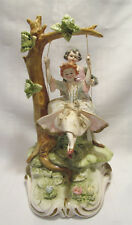 "Italian Capodimonte Style Artist Signed Young Man Lady on Swing 10 1/4"" Figurine"