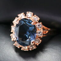 3.5 Ct Oval Blue Sapphire Ring Women Jewelry 14K Rose Gold Plated Free Shipping