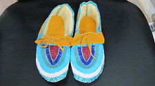 NATIVE AMERICAN EXQUISITE DESIGNED VAMP FULLBEAD MOCCASSIN 10 1/2 INCHES LONG