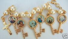 Catholic CHARM ROSARY BRACELET Pearl w/  6 key medals