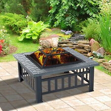 """32"""" Outdoor Patio Firepit Fireplace Stove Heater Metal Square Wood Burning"""