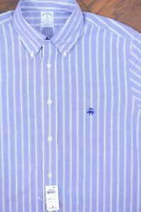 NWT Brooks Brothers Regent Non-Iron Button Front Shirt Blue Stripe Men's Medium