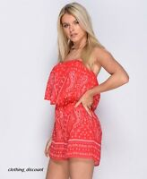 Ladies Womans playsuit jumpsuit boob tube shorts red size 6 8 10 12 14 HOLIDAY
