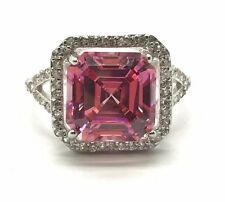 Sterling Silver Cushion Pink Sapphire CZ Halo Split Band Cocktail Ring Sz 7.25