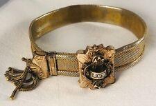 Antique Edwardian Gold/Brass Mesh Slide Adjustable Bracelet w/ Fringe, Pearls Nr