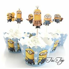 12x Minions Cupcake Toppers + 12 Wrappers. Party Supplies Lolly Loot Bag Bunting