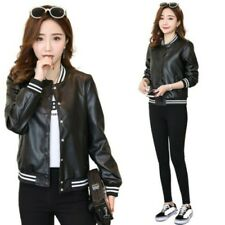 Korean Womens Baseball Jacket PU Leather Casual Short Outwear Coat Street Fall D