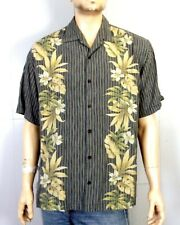 euc Tommy Bahama Men's Striped Floral 100% Tencel Lyocell Hawaiian Shirt camp XL