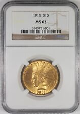 1911 $10 Indian Head Gold Eagle Coin NGC MS63