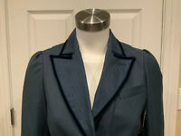 """Marc Jacobs Blue """"Deepest Teal"""" Velvet Trimmed Blazer, Size 2, NWT $378"""