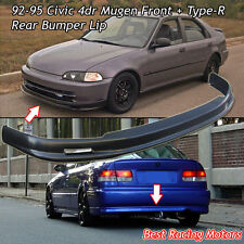 Mu-gen Style Front (PP) + TR Style Rear Bumper Lip (PU) Fit 92-95 Civic 4dr