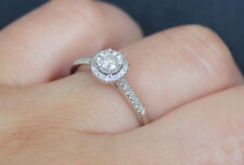 New Sz 7 10K 1/4ct Natural Round Diamond Miracle Halo Engagement Ring White Gold