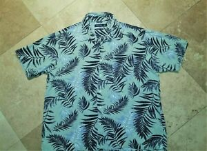 Nautica Short Sleeve Button Front Shirt Silk Cotton Blend Floral Green XL