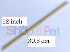 """Bird Cage Wooden Perch - 12"""" / 30.5 cm - with Secure Plastic End Fittings"""