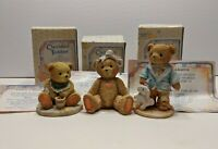Set Of 3 Vtg 1991 Cherished Teddies w/box Sara Jeremy Benji Hamilton Gifts