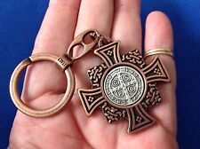 Antique Copper St BENEDICT KEYCHAIN Medal Protection Saint Metal Key Ring ITALY