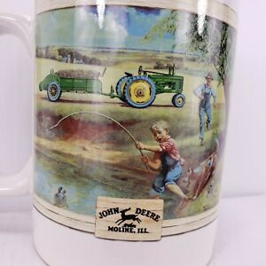 Vtg John Deere Coffee Mug/Cup  Houston Harvest #31058  Tractor Boy/Fishing Boy