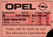 Ticket BL 92/93 FC Bayern München - Bayer Leverkusen