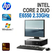 "HP DC5800 Core2 Duo Desktop Computer 4GB 160GB Windows 7 Pro WiFi 19"" Monitor"