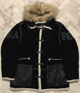 Vintage BAPE A Bathing Ape Hooded Winter Coat With Leather Trim Sz Med Rare