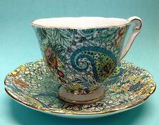 Queen Anne 5817 5818 Blue Paisley Pedestal Tea Cup and Saucer Chintz Bone China