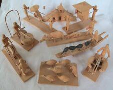 9 Piece Set Miniature Asian Agricultural Wooden Models Oriental Sedan Birds