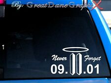 9/11/01 WTC NEVER FORGET style #2 Vinyl Decal Sticker/Choose Color-HIGH QUALITY