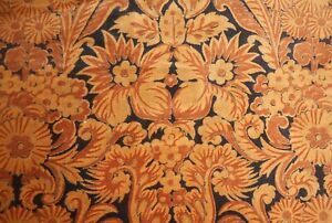 Vintage French or English Floral Velvet Fabric ~ Arts & Crafts ~Rust Ochre Black