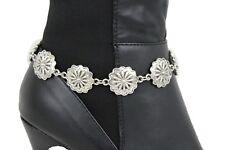 Women Fashion Jewelry Boot Bracelet Strap Silver Metal Shoe Floral Charm Flowers