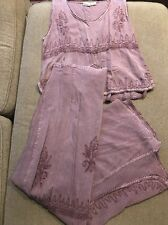 Women's My Choice Purple Rayon Top & Wrap Around Long Skirt Size Large (CT)