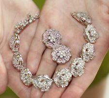 Kate Spade GLITTER SILVER cushion stud Earrings & ROSE BRACELET LOT SET