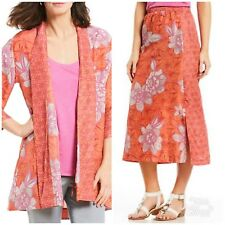 Sigrid Olsen Women's 2 Piece Silk Kimono Jacket L/XL  Matching Midi Skirt XL NWT