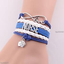 Best infinity love NURSE Bracelet hat charm leather rope handmade bracelets #529