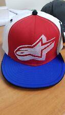ALPINESTARS Zest Flat Bill Hat Cap White/Red/Blue Flexfit Small/Medium