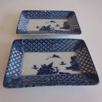 2 Platos Porcelana de China Arte Nuevo Deco Diseño Siglo Xx PN Francia