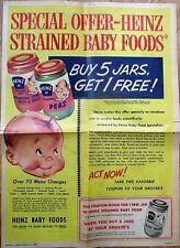Heinz Baby Food - Large 1956 Advertisement, Sunday News