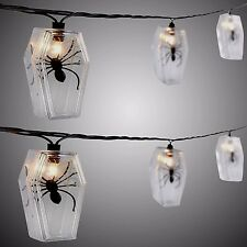 Halloween String Lights Coffin Molded Spiders 10 Count Indoor Outdoor Decoration