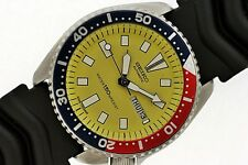 84' SEIKO 6309 7290 SS MENS DIVE AUTOMATIC DAY DATE YELLOW PEPSI #481250 WATCH $