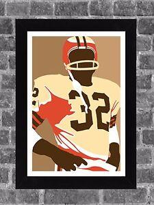 Cleveland Browns Jim Brown Portrait Sports Print Art 11x17