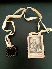 Scapolare ex voto in lana e stoffa ricamato a mano Madonna del Carmine