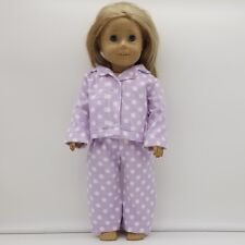 """18"""" Doll Orchid Pajamas with Polka Dots Fits American Girl Homemade Doll Clothes"""