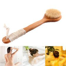 1Pc Wooden Bath Brush Long Handle Reach Back Body Shower Bristle Spa Scrubber