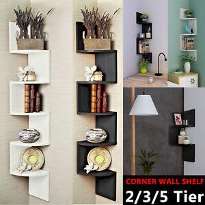 2/3/5 Tier Floating Wall Shelf Storage Shelves Corner Display Wood Bookcase Unit