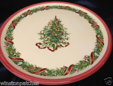 """ZRIKE PORTUGAL CHRISTOPHER'S TREE TALL FOOTED CAKE PLATE 12 1/2"""" CHRISTMAS TREE"""