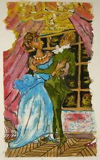 Huile sur Papier Dessin Couple Danseur Danse RENÉE SAINT-HILLIER 1996 Lyon #12