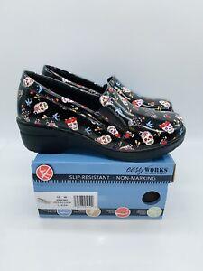 Easy Street Women's Easy Works Leeza Slip Resistant Clogs Festive Skulls US 10W