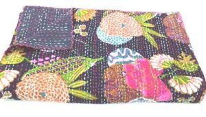 Indian Handmade Vintage Kantha Quilt Hippie Vintage Twin Quilt Bedspread Throw