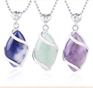 Vintage Crystal Pendant Necklace Healing Stone Chakra Reiki Chain