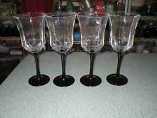 "4 Vintage Luminarc Black Stem Wine Glasses Octime Wine Water Goblets 8 1/4"" Tall"